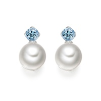 Lief Aquamarine Earrings in White Gold with Akoya Pearls