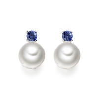 Blue Sapphire Studs in White Gold with Akoya Pearls