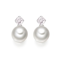 Lief Morganite Earrings in White Gold with Akoya Pearls