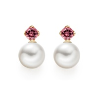 Lief Pink Tourmaline Earrings in Yellow Gold with Akoya Pearls