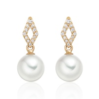 Zigzag Diamond Earrings in Rose Gold with Akoya Pearls