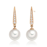 Mythologie Dewdrop Akoya Pearl Earrings in Rose Gold
