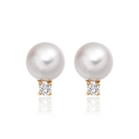 Luxury Akoya Pearl and Diamond Studs in Rose Gold