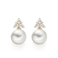 Astral Cluster Studs in Rose Gold with Akoya Pearls