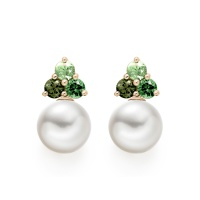 Astral Aurora Studs in Rose Gold with Akoya Pearls