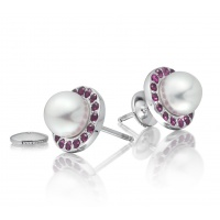 Akoya Pearl and Ruby Halo Studs in White Gold