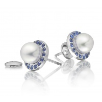 Akoya Pearl and Blue Sapphire Halo Studs in White Gold