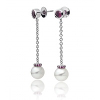 Akoya Pearl and Ruby Drop Earrings in White Gold