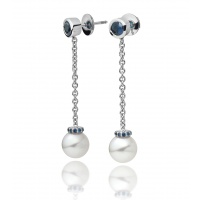 Akoya Pearl and Blue Sapphire Drop Earrings in White Gold
