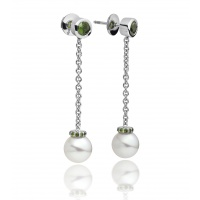 Akoya Pearl and Tsavorite Garnet Drop Earrings in White Gold