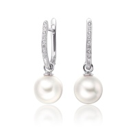 White Gold Diamond Leverbacks with Akoya Pearls
