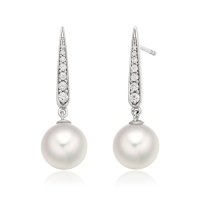 Mythologie Dewdrop Akoya Pearl Earrings in White Gold