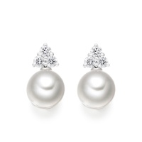 Astral Cluster Studs in White Gold with Akoya Pearls