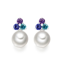 Astral Lagoon Studs in White Gold with Akoya Pearls