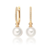 Yellow Gold Diamond Leverbacks with Akoya Pearls