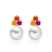 Astral Blaze Studs in Yellow Gold with Akoya Pearls