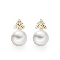 Astral Moon Studs in Yellow Gold with Akoya Pearls