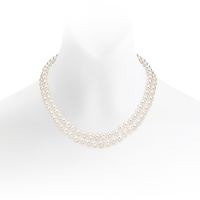 Classic Double Strand White Japanese Akoya Pearl Necklace