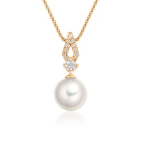 Zigzag Akoya Pearl and Diamond Pendant in Rose Gold