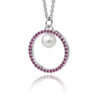 Akoya Pearl and Pink Ruby Halo Pendant in White Gold
