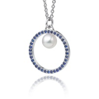 Akoya Pearl and Blue Sapphire Halo Pendant in White Gold