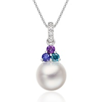 Astral Lagoon Akoya Pearl Pendant in White Gold