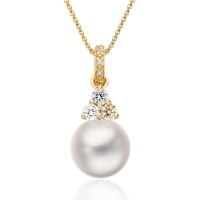 Astral Moon Akoya Pearl Pendant in Yellow Gold