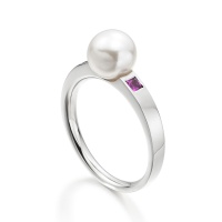 Akoya Pearl and Pink Sapphire Ring in White Gold