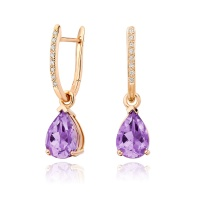 Rose Gold Diamond Leverbacks with Mythologie Amethyst Drops