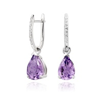 White Gold Diamond Leverbacks with Mythologie Amethyst Drops