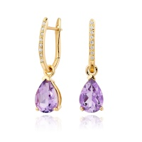 Yellow Gold Diamond Leverbacks with Mythologie Amethyst Drops