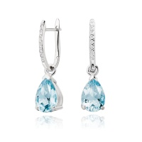 White Gold Diamond Leverbacks with Mythologie Aquamarine Drops