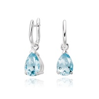White Gold Huggie Earrings with Mythologie Aquamarine Drops