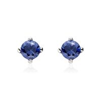 Blue Sapphire Stud Earrings in White Gold