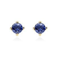 Blue Sapphire Stud Earrings in Yellow Gold