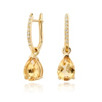 Yellow Gold Diamond Leverbacks with Mythologie Citrine Drops