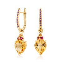 Pink Diamond Leverbacks in Yellow Gold with Astral Blaze Drops