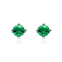 Emerald Stud Earrings in White Gold