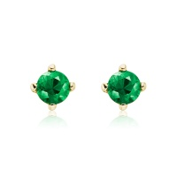 Emerald Stud Earrings in Yellow Gold