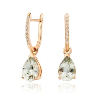 Rose Gold Diamond Leverbacks with Mythologie Green Amethyst Drops