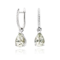 White Gold Diamond Leverbacks with Mythologie Green Amethyst Drops