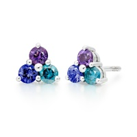 Astral Lagoon Stud Earrings in White Gold