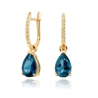 Yellow Gold Diamond Leverbacks with Mythologie London Blue Topaz Drops