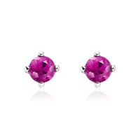 Pink Ruby Stud Earrings in White Gold