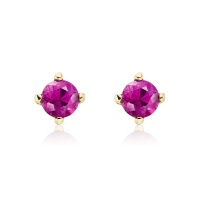 Pink Ruby Stud Earrings in 18 Carat Yellow Gold