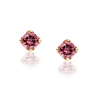 Lief Pink Tourmaline Studs in Yellow Gold