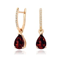 Rose Gold Diamond Leverbacks with Mythologie Red Garnet Drops