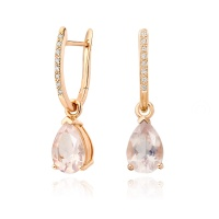 Rose Gold Diamond Leverbacks with Mythologie Rose Quartz Drops