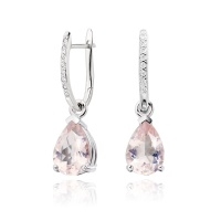 White Gold Diamond Leverbacks with Mythologie Rose Quartz Drops