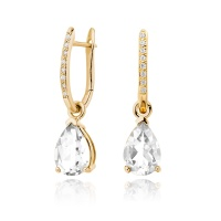 Yellow Gold Diamond Leverbacks with Mythologie White Topaz Drops
